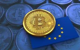 EU för bitcoin 3d sjunker Royaltyfri Bild