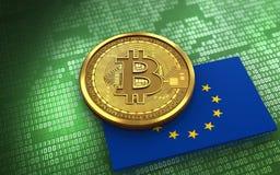 EU för bitcoin 3d sjunker Arkivbild
