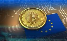 EU för bitcoin 3d sjunker Arkivbilder
