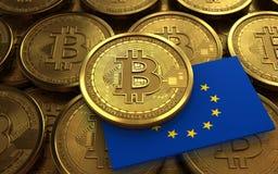 EU för bitcoin 3d sjunker Arkivfoto