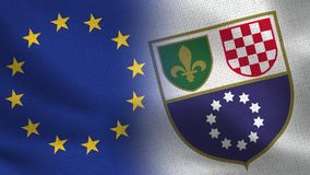 EU and Federation of Bosnia and Herzegovina Realistic Half Flags Together royalty free illustration