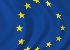EU flag. EU perspective flag waving Royalty Free Stock Photos