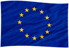 Eu flag. Wavy eu flag with ripples Stock Photo