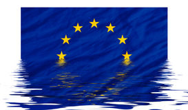Eu flag. Blue eu flag reflected in water Royalty Free Stock Image