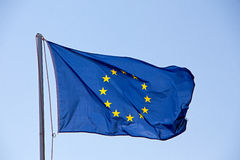 EU flag against the sky Stock Photography