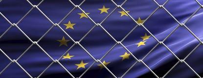 EU flag behind steel mesh wire fence. Coronavirus pandemic quarantine, 3d illustration