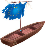 Eu flag boat. A color illustration Stock Photo