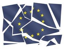 EU Flag Broken. A broken EU flag isolated on a white background Royalty Free Stock Photography
