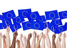 EU Flag Communication Community Holding Concept stock image