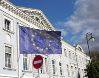 EU flag and do not enter road sign Stock Photography