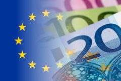 Eu flag with euro banknotes Royalty Free Stock Photo