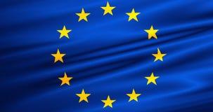 EU flag, euro flag, flag of european union waving, yellow star on blue