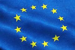 EU flag, euro flag, flag of european union waving, yellow star Royalty Free Stock Photo