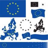 EU flag. European Union countries map. Standard colors. vector illustration