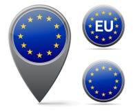 EU flag. European union flag marker and button Royalty Free Stock Photo