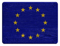 Eu flag. Eu, European Union flag painted on wooden tag. isolated on white background, wooden texture Royalty Free Stock Images