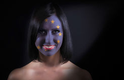 EU flag face Stock Images