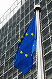 EU flag in front of berlaymont building Stock Photography