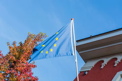 EU flag in front of an old building Royalty Free Stock Image