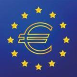 EU flag. Golden sign euro, the EU flag Stock Photo