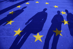 Eu flag and group of people Stock Photo