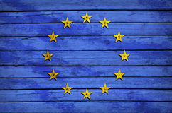 EU flag painted on wooden boards Royalty Free Stock Photo
