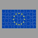 EU flag from puzzles on a gray background. vector illustration