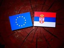 EU flag with Serbian flag on a tree stump stock image