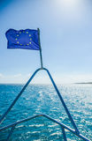 EU flag on the ship Stock Photography