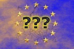 EU flag with stars and outlines of European countries and question marks. EU flag with stars and outlines of European countries – immigration crisis idea – Stock Image