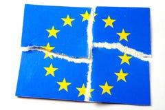 EU flag - teared. EU flag Stock Photo