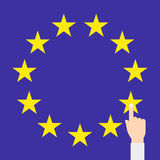 EU flag vector isolated with hand eps10 Stock Photo