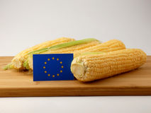 EU flag on a wooden panel with corn isolated on a white backgrou Stock Photo