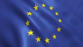EU-flagga som vinkar - bakgrund för europeisk union Arkivbilder