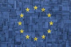 EU-Flagge auf einem hölzernen Hintergrund Stockfotos