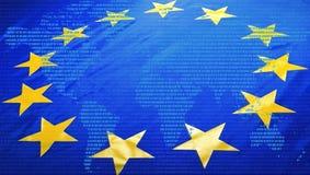 EU-Flagge und -Weltkarte stockfotos