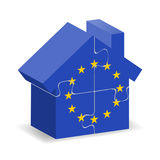 EU flagged house. Illustration of EU flagged house with puzzle pieces Stock Photos