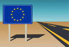 EU flagged road sign on blue sky background Royalty Free Stock Photos