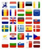 EU-flaggor sänker den fyrkantiga symbolsuppsättningen vektor illustrationer