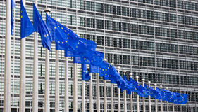 EU flags Brussels. Flags in front of the EU Commission building in Brussels Stock Photography