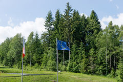 EU flags and the Czech Republic on the background of forest Royalty Free Stock Photos