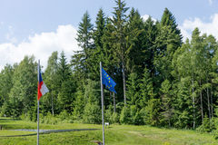 EU flags and the Czech Republic on the background of forest Stock Photo