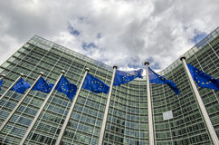 EU flags. In front of European Commission in Brussels Stock Image