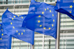 EU flags. In front of European Commission in Brussels Royalty Free Stock Images