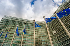 EU flags. In front of European Commission in Brussels Royalty Free Stock Photography