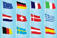 EU flags Royalty Free Stock Photos