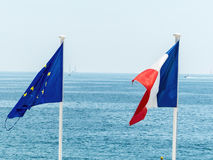 The eu and french flags Stock Image