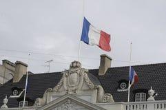 EU_FRENCH VLAG BIJ DE FRANSE AMBASSADE VAN HALP MAST_AT Royalty-vrije Stock Afbeeldingen