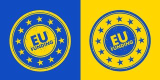 EU funding Stamp. Approval to be financed and be financially supported by European union. Bureaucracy and administration to obtain and acquire money from the Stock Image