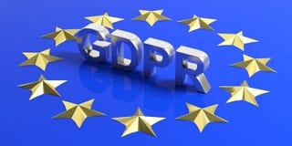 EU General Data Protection Regulation. GDPR on European Union flag. 3d illustration. EU General Data Protection Regulation. GDPR letters on European Union flag Royalty Free Stock Photography